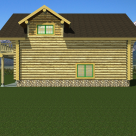 Side rendering of log garage with living space above
