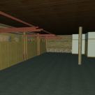 Interior rendering of log garage with 4 bays.