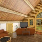Log home with french doors and arched windows interior rendering
