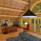 Rendering of log cabin with french doors and arched window.