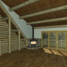 Log home living room with wood stove rendering.