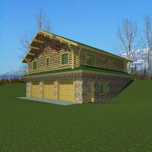 Rendering of log cabin on top of 3 car garage.