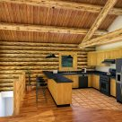 log cabin kitchen with cathedral ceilings