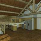 Handcrafted log cabin rendering with log truss supporting roof beams.