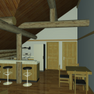 Log home rendering of kitchen and dining room with breakfast bar and exposed log beams.