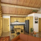 Rendering of log home kitchen with pine ceiling.