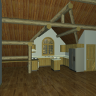 Interior rendering of log cabin with dormer and round top window.