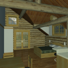 Interior rendering of handcrafted log home with exposed beams.