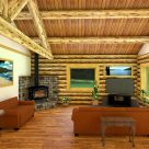 Interior log cabin with log truss supporting log purlin roof system