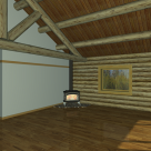 Interior rendering of log cabin with wood stove and log truss.