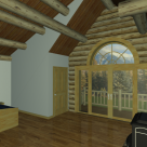 Interior rendering of log home bedroom with wood stove, french doors to balcony and round top window.
