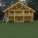 Rendering of custom log home above log garage with covered balcony and log railing.