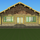 Rendering of handcrafted log cabin with large windows and french doors.
