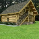 Log garage with staircase to living space above rendering.
