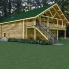 Rendering of log home above garage with private balcony and log railings