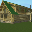 Rendering of custom log home with dormers above 4 car garage.