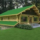 exterior log cabin with green metal roof