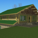 Rendering of custom log home above 3 car garage.