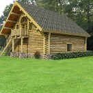 Log garage with living space above and private entrance to upper level.
