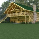 Handcrafted log garage with log home above, balcony with log truss and log railings.