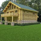 Log garage with living above and balcony with log railing.