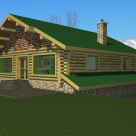 Rendering of log cabin with greeen roof, chimney and stone foundation.