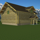 Rendering of custom log garage with snow capped mountains in the background