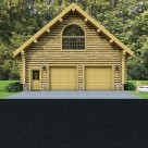 Log garage with arch top window rendering