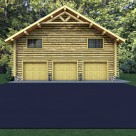 3 car log garage with log home above and gable accent truss.