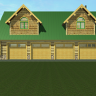 Rendering of 4 car garage with two large dormers.