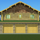Front view of 3 car garage with stone and log home above.