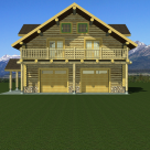 Front rendering of handcrafted log garage with living space above.