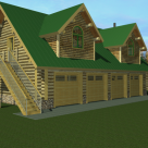 Rendering of log garage with 4 bays and log home above with green roof.