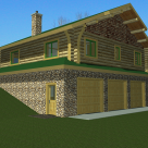 Rendering of 3 car garage with log cabin above on sloping lot.