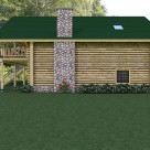 Side view of log garage with stone fireplace.