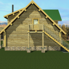 Rendering of handcrafted log home above 4 car garage.