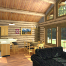 Rendering of log home living room with large windows