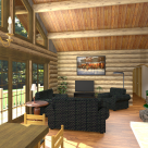 Log home living room with wood stove rendering