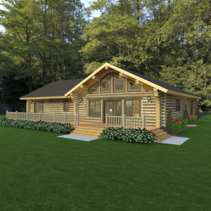 Front rendering of log home
