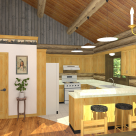 Interior rendering of log home kitchen with breakfast bar