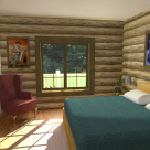 Rendering of log home bedroom with green quilt, red chair and view of forest through window.