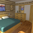 Rendering of handcrafted log home bedroom with art on the walls