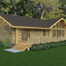 Rendering of handcrafted ranch style log home