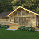 Ranch style handcrafted log home rendering