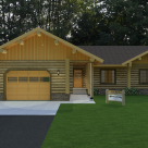 Log home with attached garage rendering