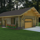 Rendering of handcrafted log garage