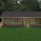 Ranch style log home rendering