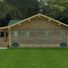 Rendering of custom log home with covered porch