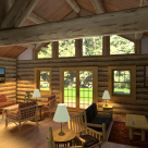 Interior rendering of log home great room with log truss supporting roof and large windows to view of forest.
