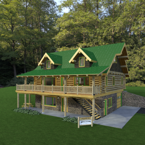 Exterior of log home on basement